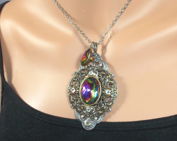 Austrian Crystal Solid Brass Pendant One of a Kind Gifts