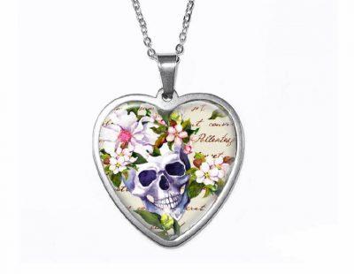 Floral Skull Heart Pendant Halloween