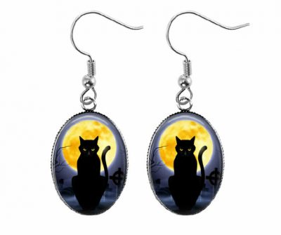Full Moon Cat Earrings Halloween