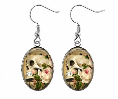 Vintage Skull Earrings Halloween