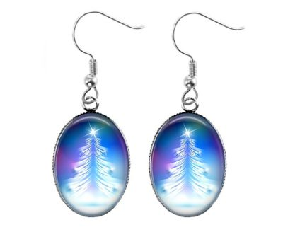 Blue Christmas Tree Earrings Christmas & Thanksgiving