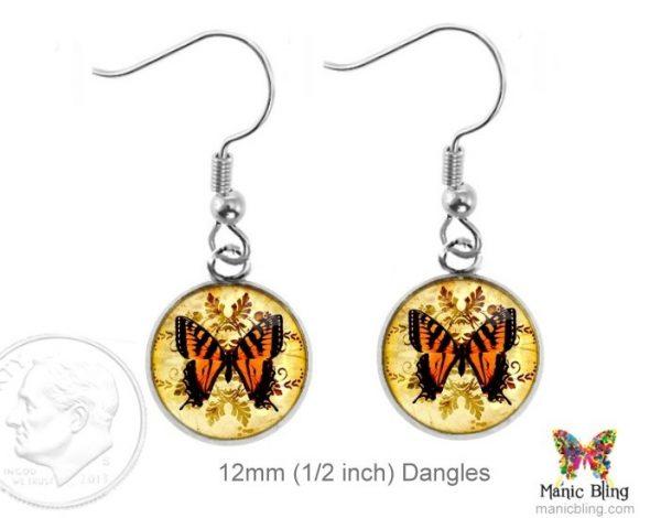 Orange Butterfly Earrings Dangle Earrings