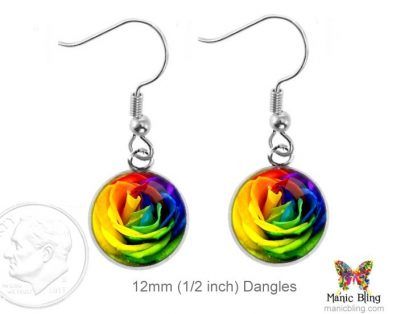 Rainbow Rose Leverback Earrings Dangle Earrings