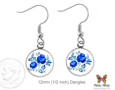 Blue Rose Earrings Dangle Earrings