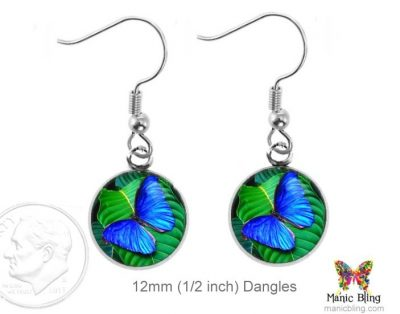 Blue Butterfly Small Earrings Dangle Earrings