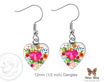 Watercolor Heart Earrings