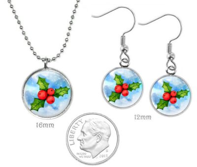 Small Holly Jewelry Set Christmas & Thanksgiving
