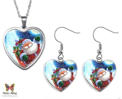 Santa Heart Jewelry Set Christmas & Thanksgiving
