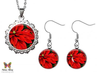 Poinsettia Jewelry Set Christmas & Thanksgiving