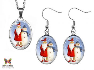 Folk Art Santa Jewelry Set Christmas & Thanksgiving