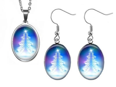 Blue Tree Jewelry Set Christmas & Thanksgiving