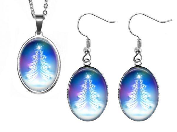 Blue Tree Jewelry Set Christmas & Thanksgiving