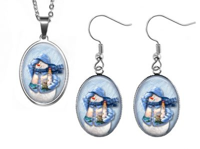 Blue Snowman Jewelry Set