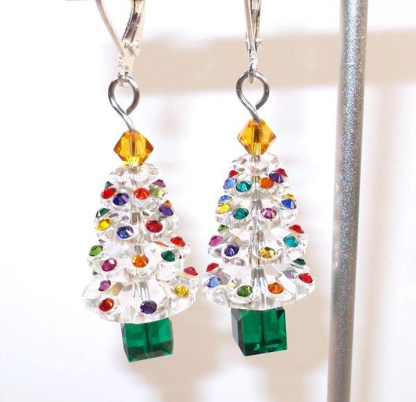 Swarovski Clear Christmas Tree Earrings Christmas & Thanksgiving