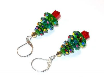 Swarovski Christmas Tree Earrings Christmas & Thanksgiving