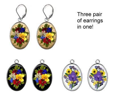 Pressed Flower Interchangeable Earrings Earrings