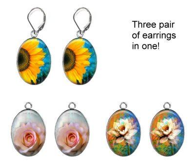 Flowers Interchangeable Earrings Earrings