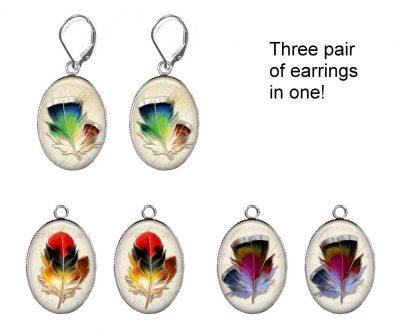 Feathers Interchangeable Earrings Earrings