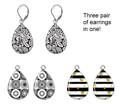 Black and White Interchangeable Earrings Earrings