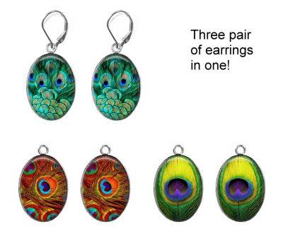 Peacock Feather Interchangeable Earrings Earrings