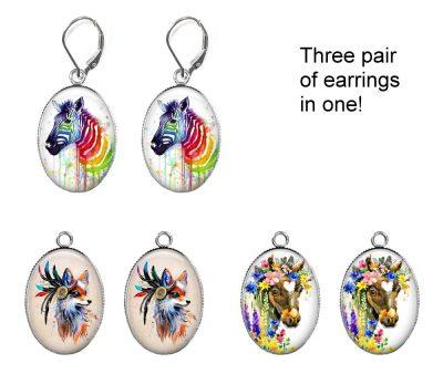 Watercolor Animals Earring Set Earrings