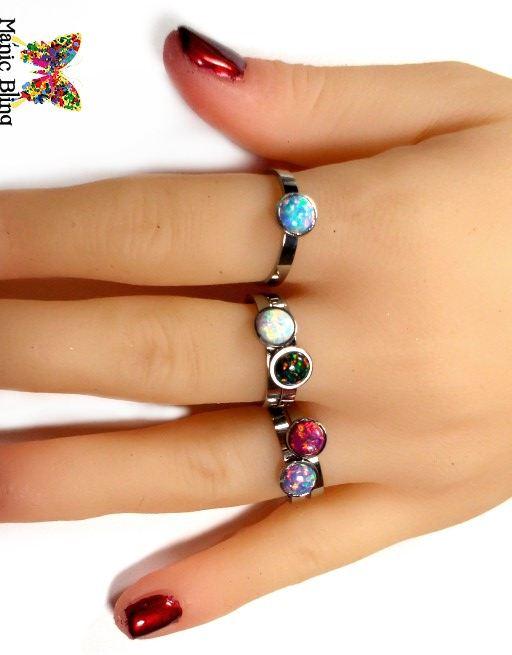 Opal Stacking Rings Fashion Rings