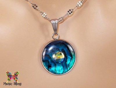 Blue Paua Shell Swarovski Crystal Pendant Necklaces & Pendants