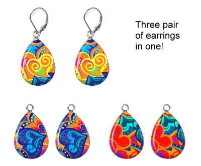 Colorful Hearts Interchangeable Earrings Earrings