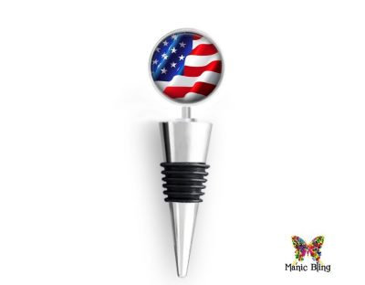 Wine Bottle StopperAmerican Flag Glass Photo Jewelry