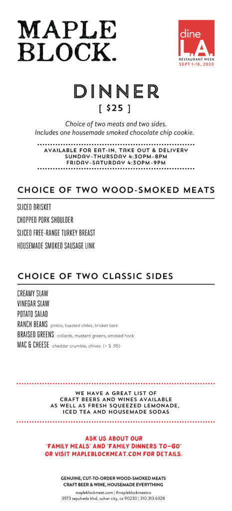 dineLA Restaurant Week at Maple Block: Dinner Menu (September 2020)