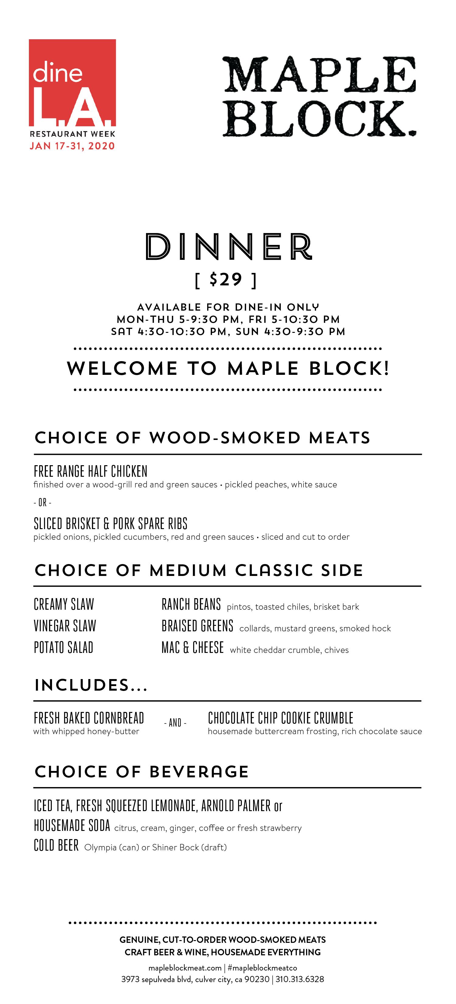 dineLA Restaurant Week - Maple Block Dinner Menu Winter 2020