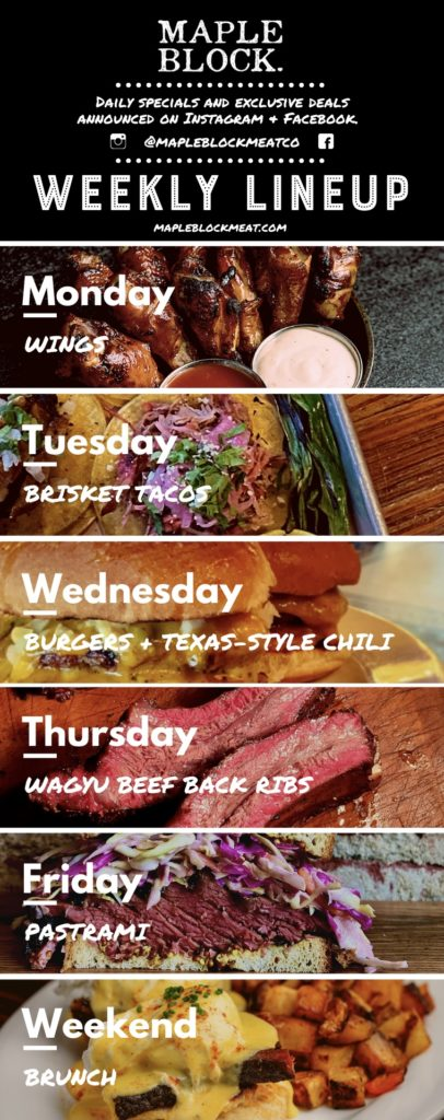 Weekly Lineup (weekly specials) at Maple Block BBQ Culver City CA
