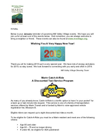 Mill Valley Village - Jan 2019 Newsletter newsletter