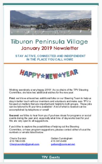 Tiburon Peninsula Village - Jan 2019 Newsletter newsletter