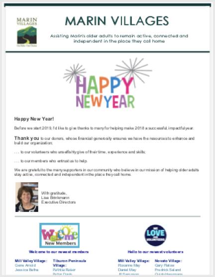 Marin Villages - Jan 2019 Newsletter newsletter
