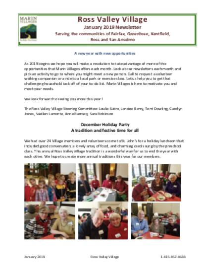Ross Valley Village - Jan 2019 Newsletter newsletter