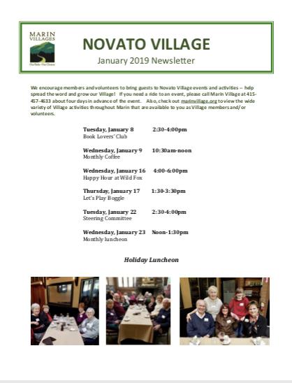 Novato Village - Jan 2019 Newsletter newsletter