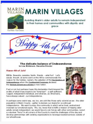 Marin Villages - July 2018 Newsletter newsletter