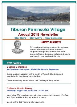 Tiburon Peninsula Village - Aug 2018 Newsletter newsletter