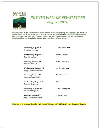 Novato Village - Aug 2018 Newsletter newsletter