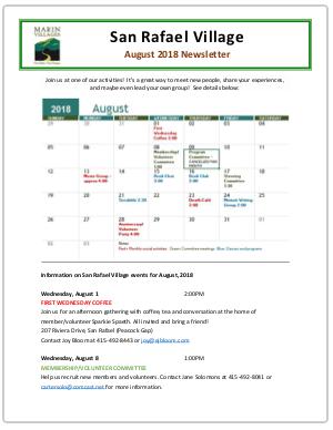 San Rafael Village - Aug 2018 Newsletter newsletter