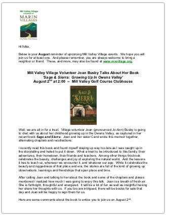 Mill Valley Village - Aug 2018 Newsletter newsletter