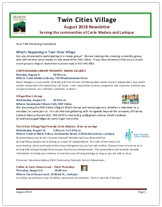 Twin Cities Village - Aug 2018 Newsletter newsletter
