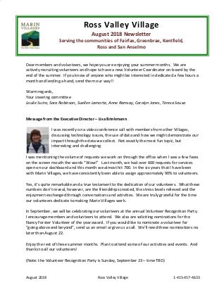 Ross Village - Aug 2018 Newsletter newsletter