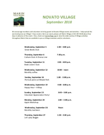 Novato Village - Sept 2018 Newsletter newsletter