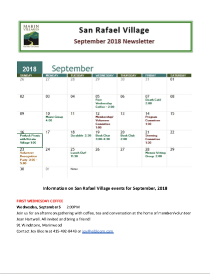 San Rafael Village - Sept 2018 Newsletter newsletter