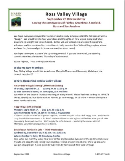 Marin Villages - Sept 2018 Newsletter newsletter