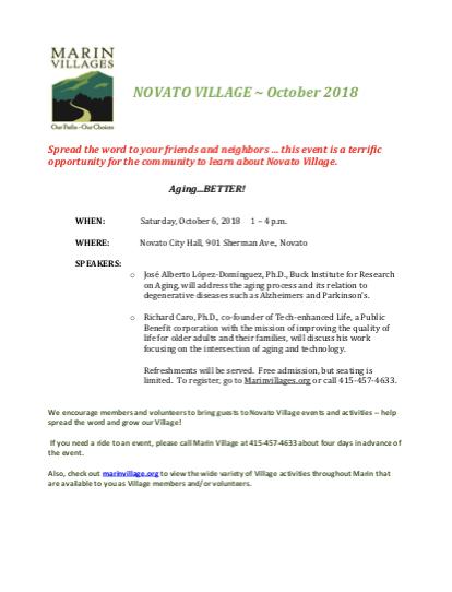 Novato Village - October 2018 Newsletter newsletter