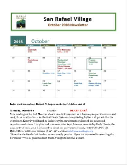 San Rafael Village - October 2018 Newsletter newsletter