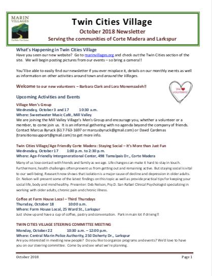 Twin Cities Village - October 2018 Newsletter newsletter